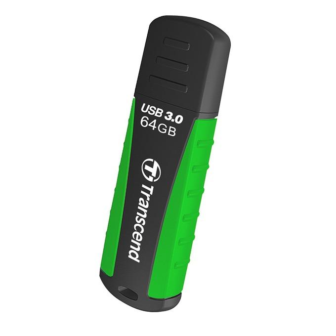 64GB USB Flash Drive, Transcend JetFlash 810, USB 3.0, черно/зелено image