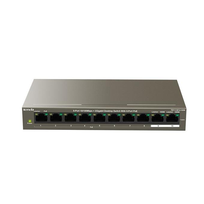 Суич TENDA TEF1110P-8-102W, 100Mbps, 9x LAN10/100Mbps, 8 Poe портове, 102W image