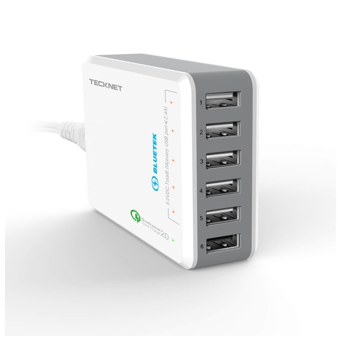 Зарядно за стена TeckNet U601 Qualcomm Quick Charger, от контакт към 6x USB A(ж), 14.4A, бяло image