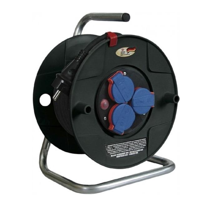 """Разклонител Brennenstuhl Gar2420, 3 гнезда, тип """"макара"""", индикатор за прегряване или претоварване, 40 m, черен  image"""