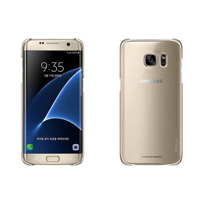 Калъф за Samsung Galaxy S7 Edge, страничен протектор с гръб, поликарбонат, Devia Glimmer Case, златист/прозрачен image