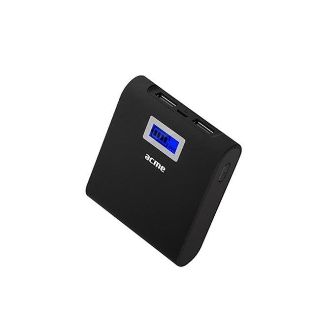Външна батерия/power bank Acme PB06, 6000 mAh, 2x USB A, дисплей, LED фенерче, черна image