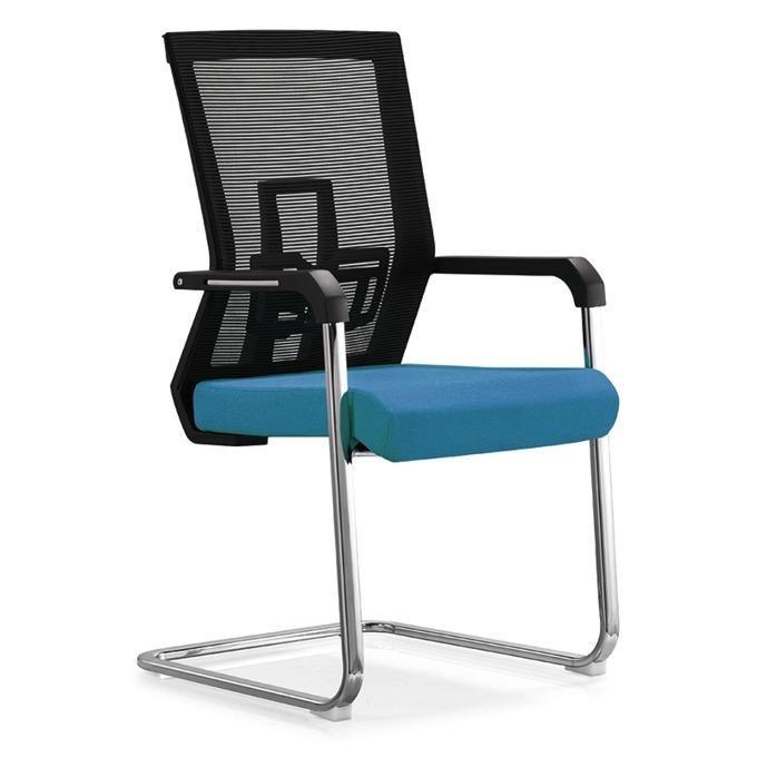 Посетителски стол RFG Lucca M, дамаска и меш, синя седалка, черна облегалка image