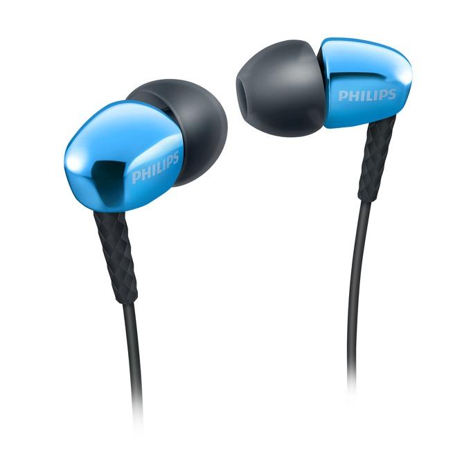 Слушалки Philips SHE3900BL тип тапи, позлатен накрайник, сини image