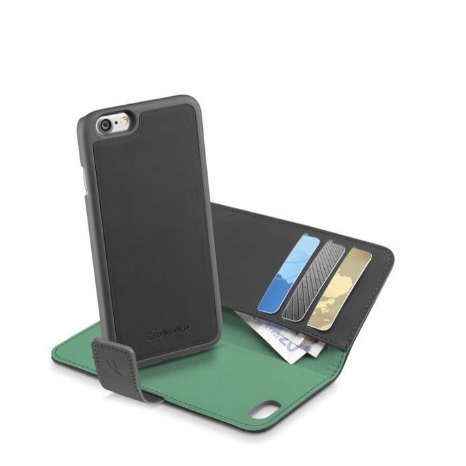 Калъф за Apple iPhone 7, отвараяем, еко кожа, Cellular Line Combo 2 in 1, с джоб, сив/зелен image