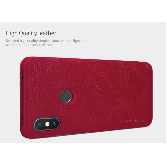Калъф за Xiaomi Redmi Note 6 Pro, flip wallet, кожен, Nillkin Qin, червен image