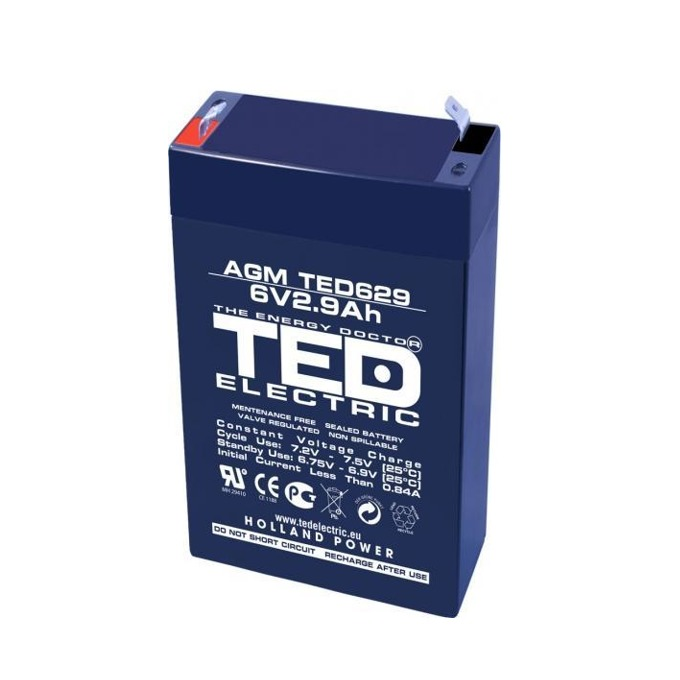 Акумулаторна батерия TED ELECTRIC BAT-6V/2.9/AGM, 6V, 2.9Ah, AGM image