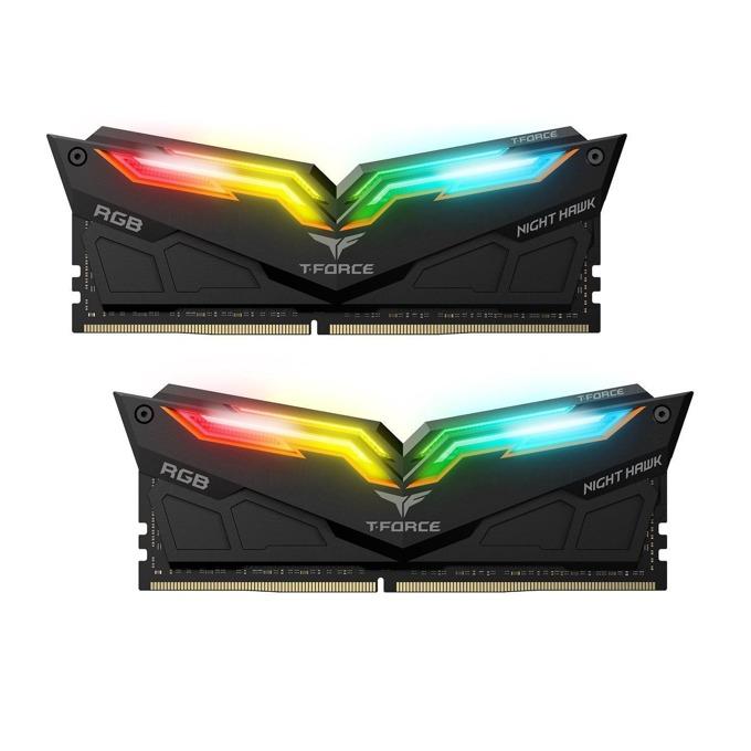 16GB (2x8GB) DDR4 3000MHz, Team Group T-Force Night Hawk RGB, TF1D416G3000HC16CDC01, 1.2V, RGB програмируема подсветка, черен Heatspreader image