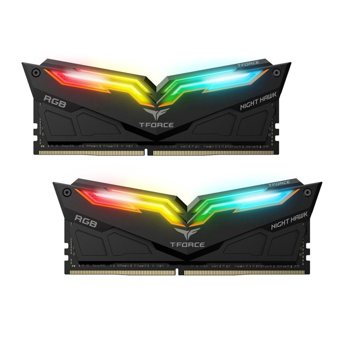16GB (2x8GB) DDR4 3000MHz, Team Group T-Force Night Hawk RGB, TF1D416G3000HC16CDC01, 1.2V, RGB програмируема подсветка, черен Heatspreader image