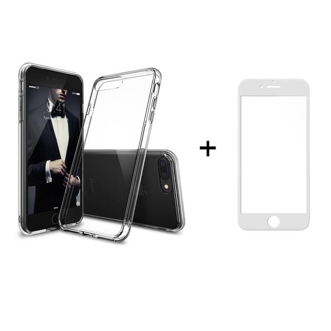 Комплект стъклен протектор бял + калъф Remax Crystal, за iPhone 7/7S, прозрачен image