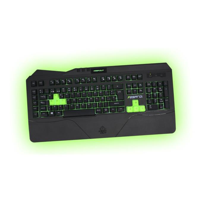 Клавиатура KEEPOUT F89PRO, гейминг, 12 клавиша за мултимедиен контрол, 5 програмируеми клавиша за макроси, подсветка, черна, USB image