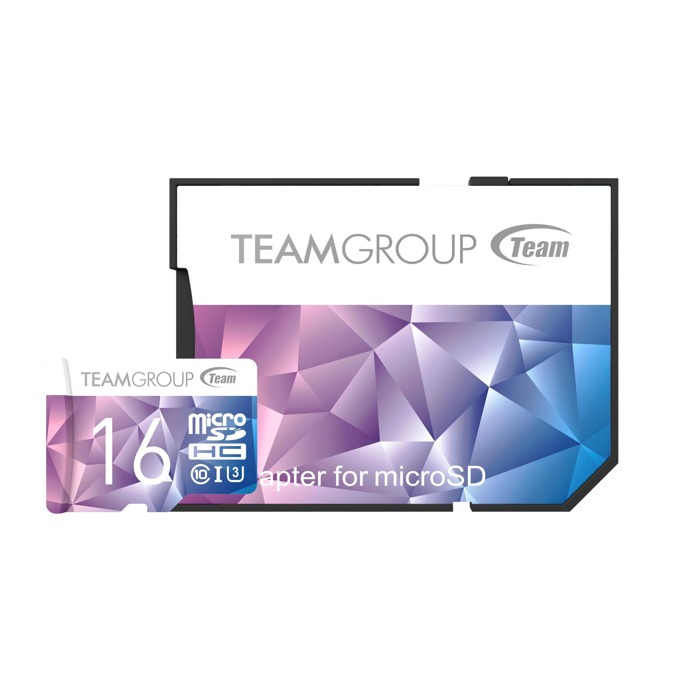 16GB microSDHC, Team Group Color Card II, Class10, UHS-I U3, скорост на четене 90MB/s, скорост на запис 45MB/s, с SD адаптер image