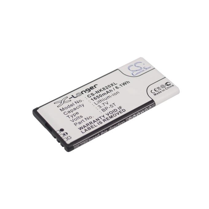 Батерия (заместител) за Nokia BP-5T, Lumia 820, 3.7V/1650 mAh  image