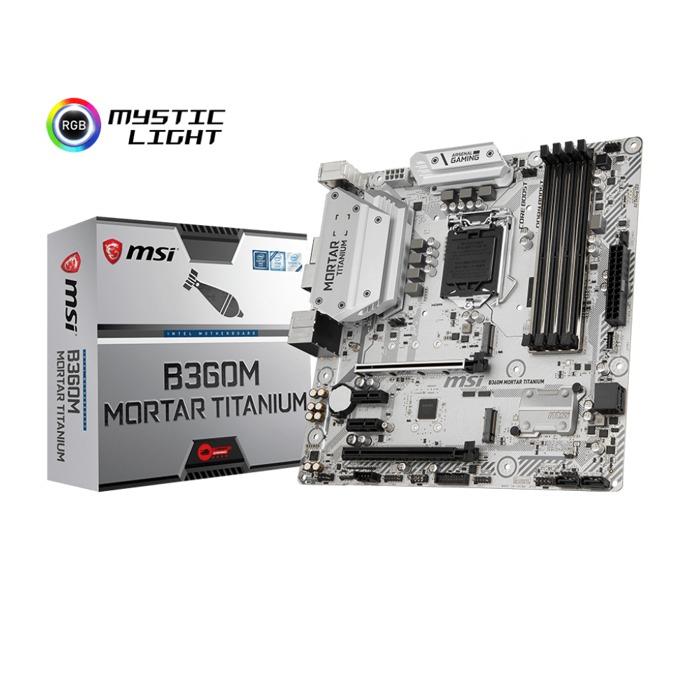 Дънна платка MSI B360M MORTAR TITANIUM, B360, LGA1151, DDR4, PCI-E(HDMI&DP), 4x SATA 6Gb/s, 2x M.2 socket 3, 1x USB Type-C 3.1 Gen 2, Micro-ATX image