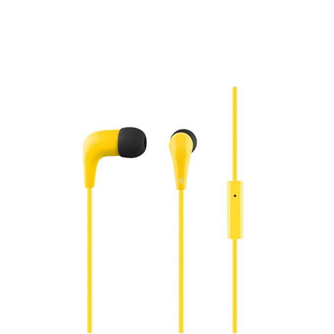 """Слушалки Acme HE15Y, тип """"тапи"""", микрофон, 20 Hz – 20 kHz, 1.30m кабел, позлатен конектор, жълти image"""