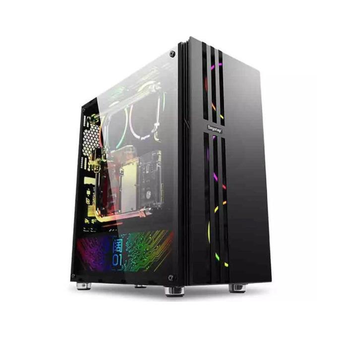 Кутия Segotep Fenix, ATX, Micro-ATX, Mini-ITX, 2x USB 2.0, 1x USB 3.0, с прозорец, черна, без захранване image