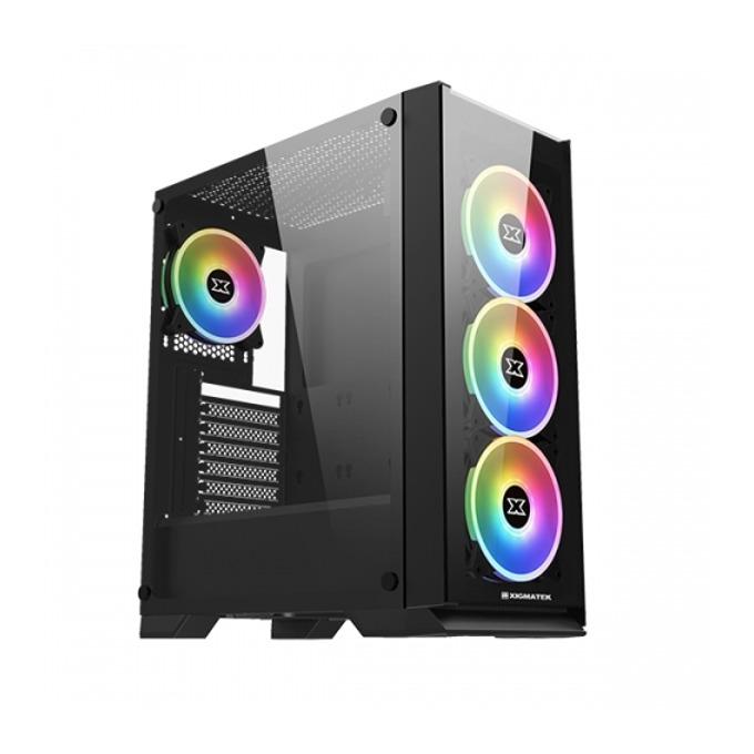 Кутия Xigmatek Sirocon III, ATX/Micro ATX/Mini-ITX, 1x USB 3.0, прозорец, черна, без захранване image