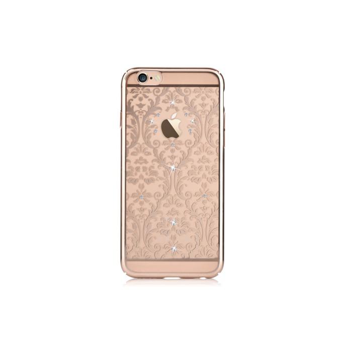 Калъф за Apple iPhone 6/6S, страничен протектор с гръб, поликарбонат, Devia Baroque Case, с кристали Сваровски, златист image