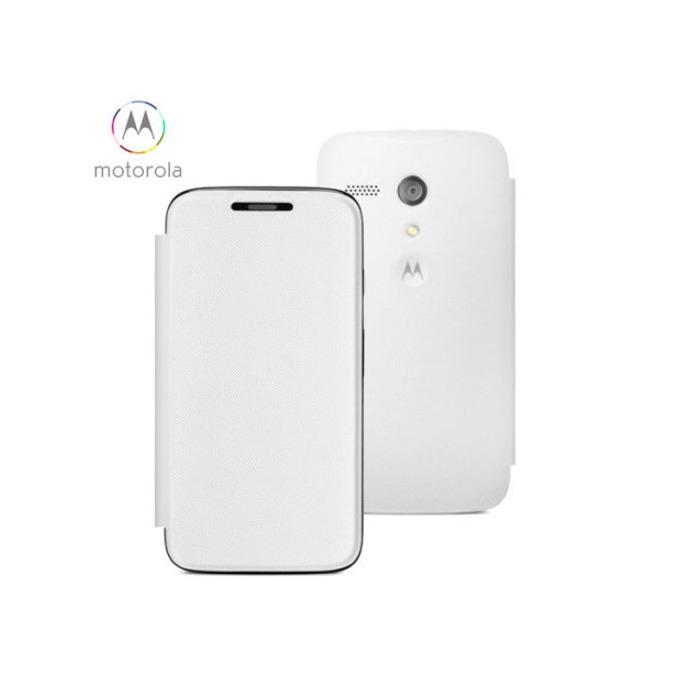 Flip Case за Motorola, оригинален, тип портфейл за Motorola Moto G, бял image