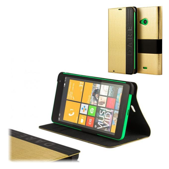 Калъф за Nokia Lumia 535, Flip Cover, златен image