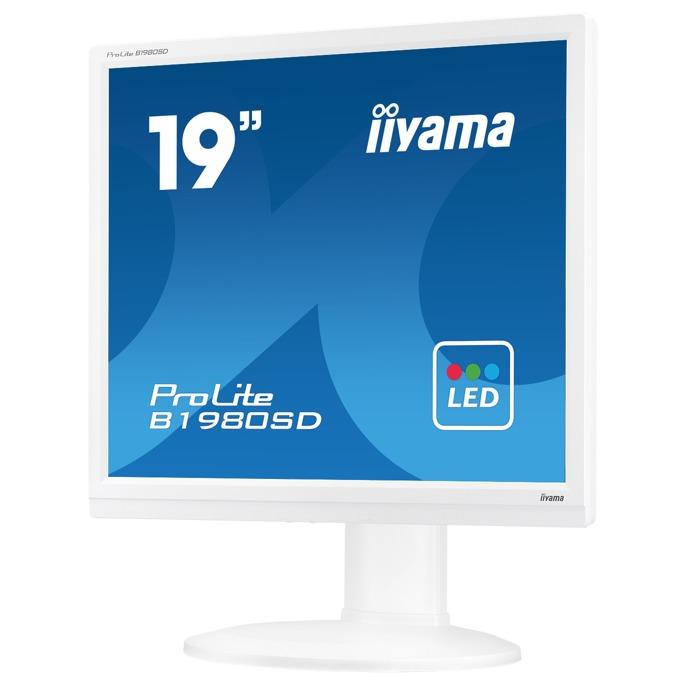 "Монитор IIYAMA B1980SD-W1, 19"" (48.26 cm) TN панел, SXGA, 5ms, 12000000:1, 250 cd/m2, DVI, VGA image"
