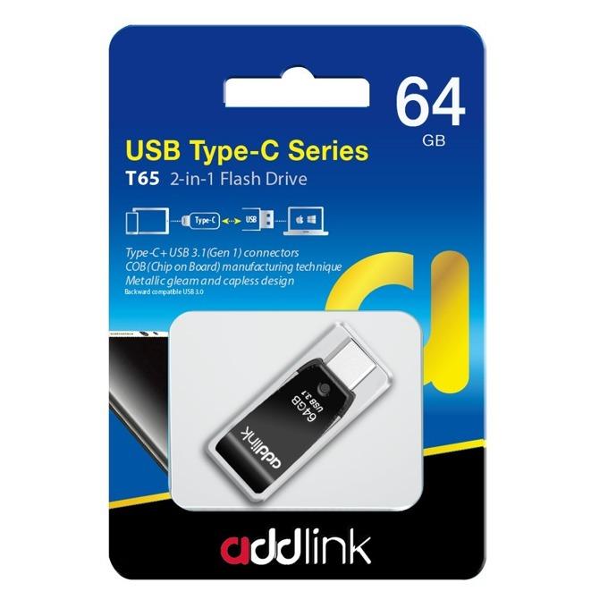Памет 64GB USB Flash Drive, Addlink T65, USB 3.1, черна image