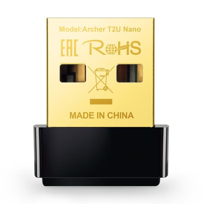 Безжичен мрежови адаптер TP-LINK Archer T2U Nano AC600, 600 Mbps, Wireless-AC, USB 2.0 image