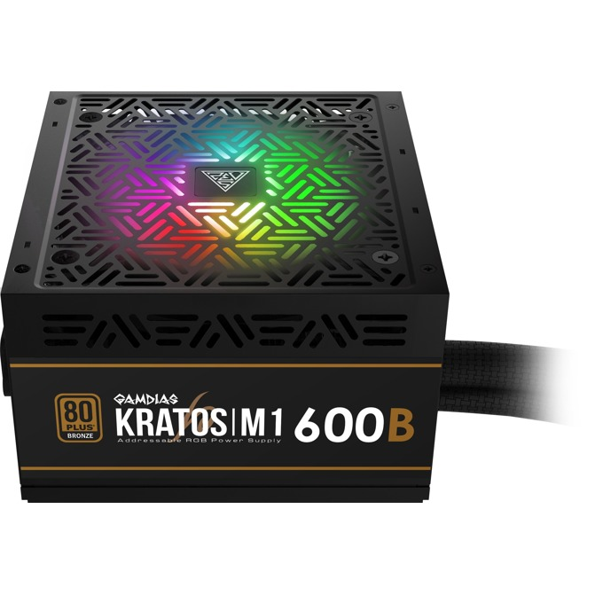 Захранване Gamdias KRATOS M1-600B, 600W, Active PFC, 80 Plus Bronze, 120 mm RGB вентилатор image