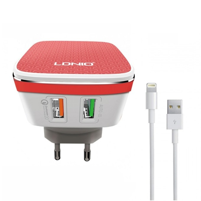 Мрежово зарядно устройство LDNIO A2405Q,от контакт към USB x2/lightning, Бял image