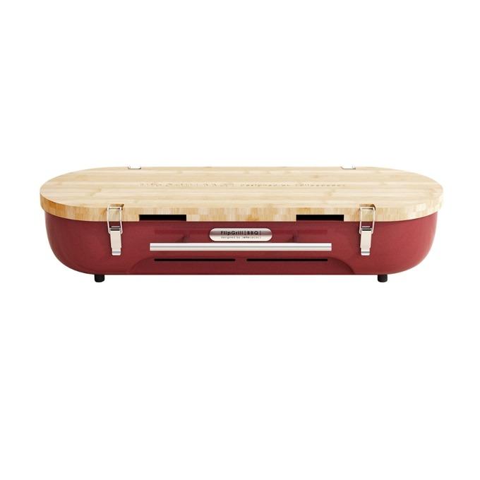 Настолно барбекю Allocacoc FlipGrill BBQ 11096RD, бамбук, 610мм x 210мм x 100мм, червен image