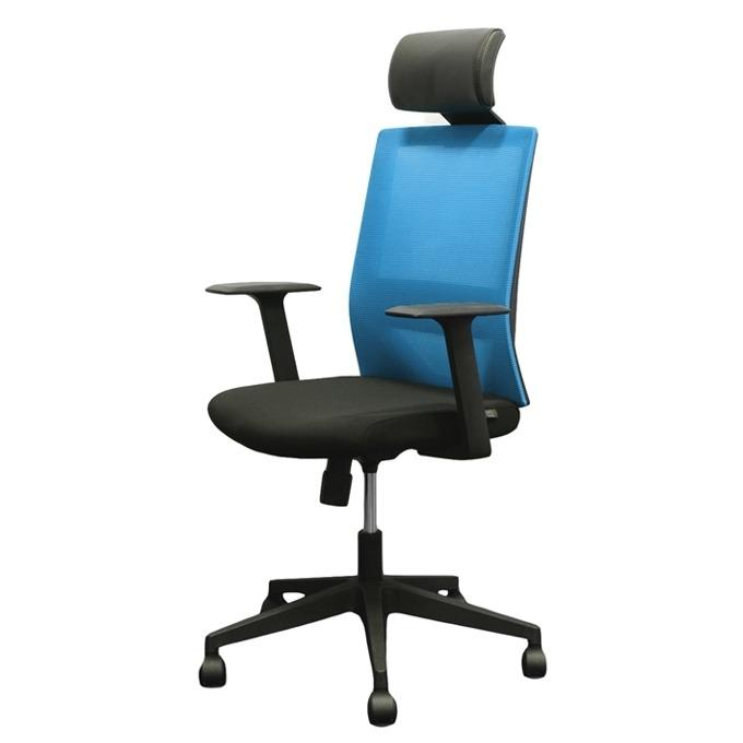 Директорски стол RFG Berry HB, дамаска и меш, черна седалка, светлосиня облегалка image