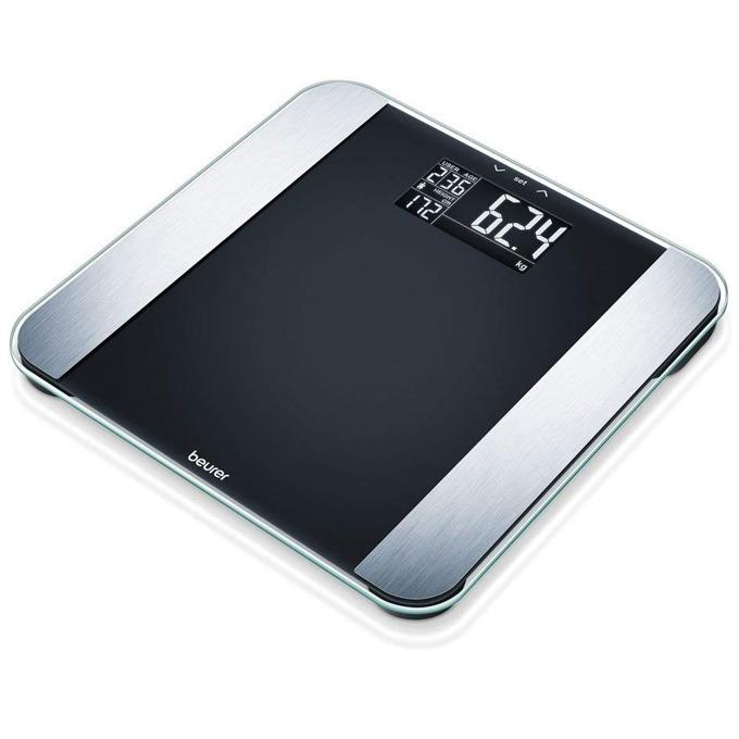 Цифров кантар с анализатор Beurer BF Limited Edition Diagnostic Scale black, капацитет 180 кг, LCD дисплей, с включена батерия, претегля теглото, телесната мазнина, съдържанието на вода в организма, мускулна маса, костна маса, черен image