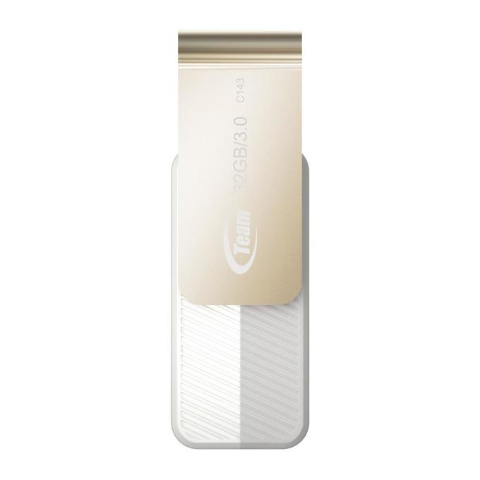 32GB USB Flash Drive, Team Group C143, USB 3.0, бяла image