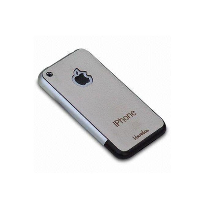 Страничен протектор HardCE iMAT, бял-бежов, кожен (естествена кожа), за iPhone 3G/3GS + скрийн протектор и кърпичка за почистване image