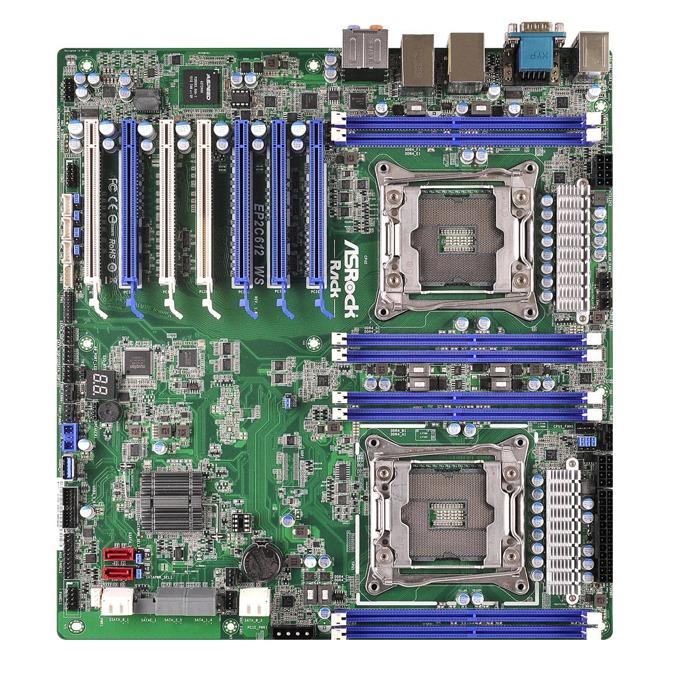 Дънна платка за сървър ASRock Rack EP2C612 WS, 2x LGA2011-3, поддържа DDR4 ECC LRDIMM/RDIMM/NVDIMM, 2x LAN1000, 1x IPMI LAN port, 10x SATA3 6.0Gb/s(RAID 0/1/5/10), 4x USB 3.0, SLI/CrossFireX, SSI EEB image