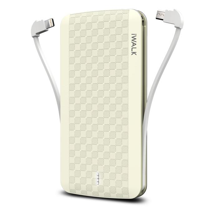 Външна батерия /power bank/ iWalk Scorpion, 8000mAh, USB/Lightning/Micro USB вградени кабели, 5V, 2.4A, жълта image