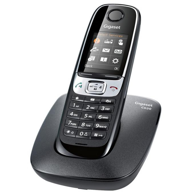 """Безжичен телефон Gigaset C620, 1.8"""" (4.57 cm) LCD цветен дисплей, черен image"""
