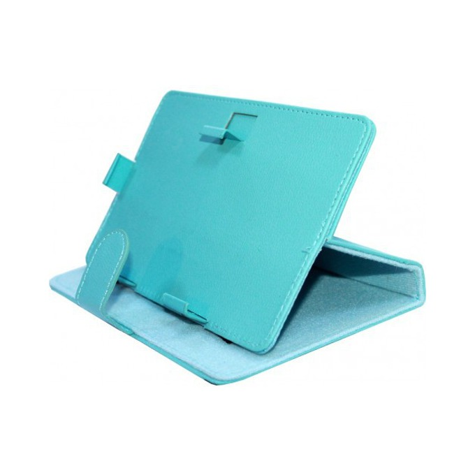 "Калъф за таблет до 9"" (22.9 cm), ""бележник"", универсален, кожа, син image"
