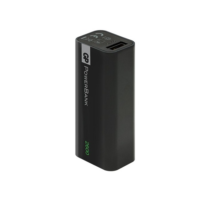Външна батерия/power bank GP Portable 1C02A, 2600mAh, черна, 1A, 1x USB image