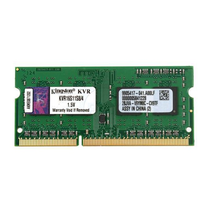 4GB DDR3 1600 MHz, SODIMM ,Kingston, Non-ECC, CL11, 1.5V, Unbuffered image