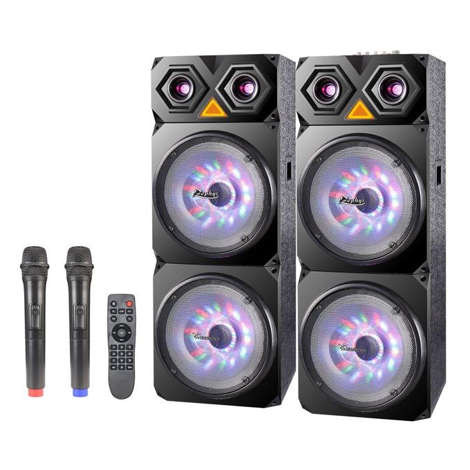 Караоке колона Zephyr ZP 9999 2C12, 120Wx2, Bluetooth, MP3, 2 бр. безжични микрофона, черна image