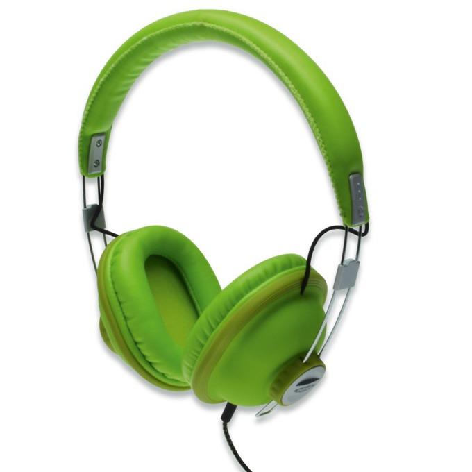 Слушалки EDNET 83136 AURICLE Grasshoper, микрофон, 3.5mm jack, 44mm neodymium говорители, 1.2м кабел, зелени image