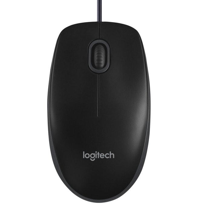 Мишка Logitech B100, оптична (800 dpi), жична, USB, черна, с 3 бутона image