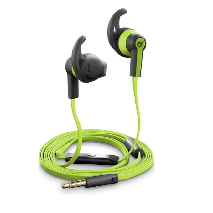 Слушалки Cellular Line IT3521, микрофон, плосък кабел, олекотени, 3,5 мм жак, зелени image