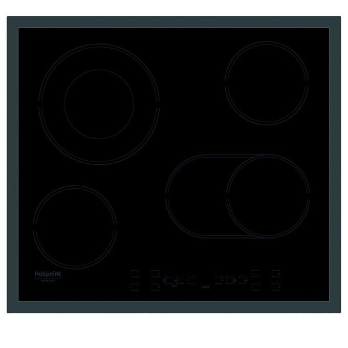 Стъклокерамичен плот за вграждане Hotpoint-Ariston HR 616 X, 4 нагревателни зони, 1 двойна зона, сензорно управление, черен image