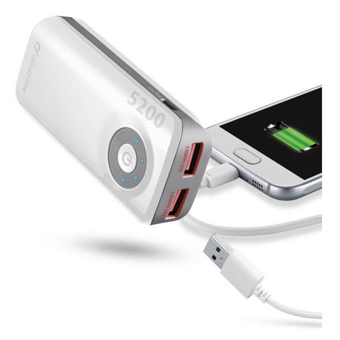 Външна батерия/power bank/ Cellular Line, 5200mAh, бяла, 2x USB, On/Off image