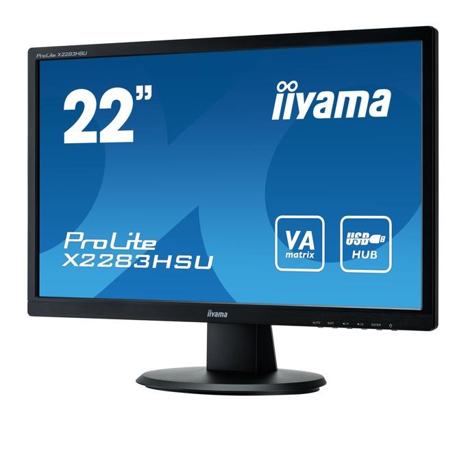 "Монитор IIYAMA X2283HSU-B1DP, 24.1"" (54.61 cm) IPS панел, WUXGA, 5ms, 12000000:1, 250 cd/m2, DP, DVI, VGA image"