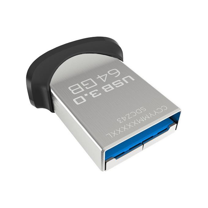 64GB USB Flash Drive, SanDisk Ultra Fit, USB 3.0, черна  image