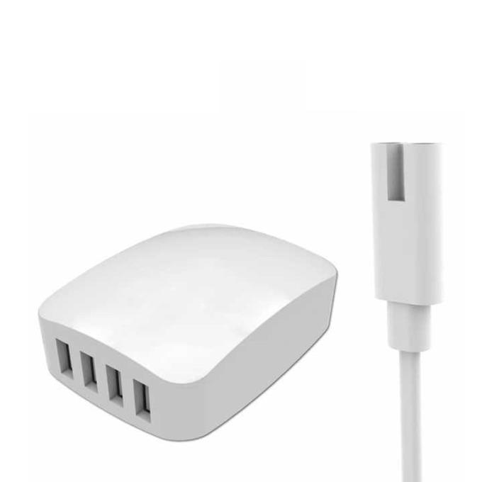Зарядно устройство Kingleen C869, от контакт към 4x USB Type A(ж), 5V/6A, всяко USB зарежда до 2.4А, бяло image