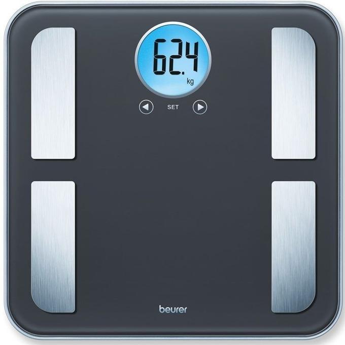 Цифров кантар с анализатор Beurer BF 195 diagnostic bathroom scale, капацитет 180 кг, LCD кръгъл дисплей, с включена батерия, претегля теглото, телесната мазнина, съдържанието на вода в организма, мускулна маса,калории костна маса,  image